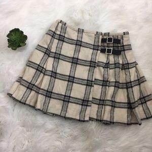 Banana Republic Plaid Pleated Wool Wrap Mini Skirt